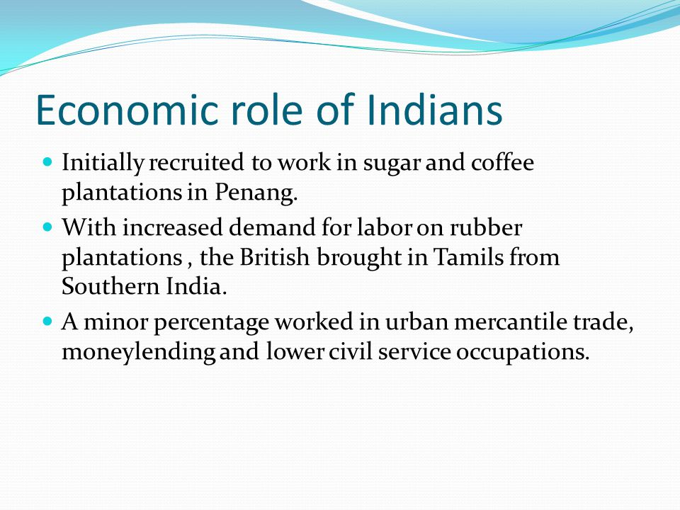 Economic role of Indians Initially recruited to work in sugar and coffee plantations in Penang.