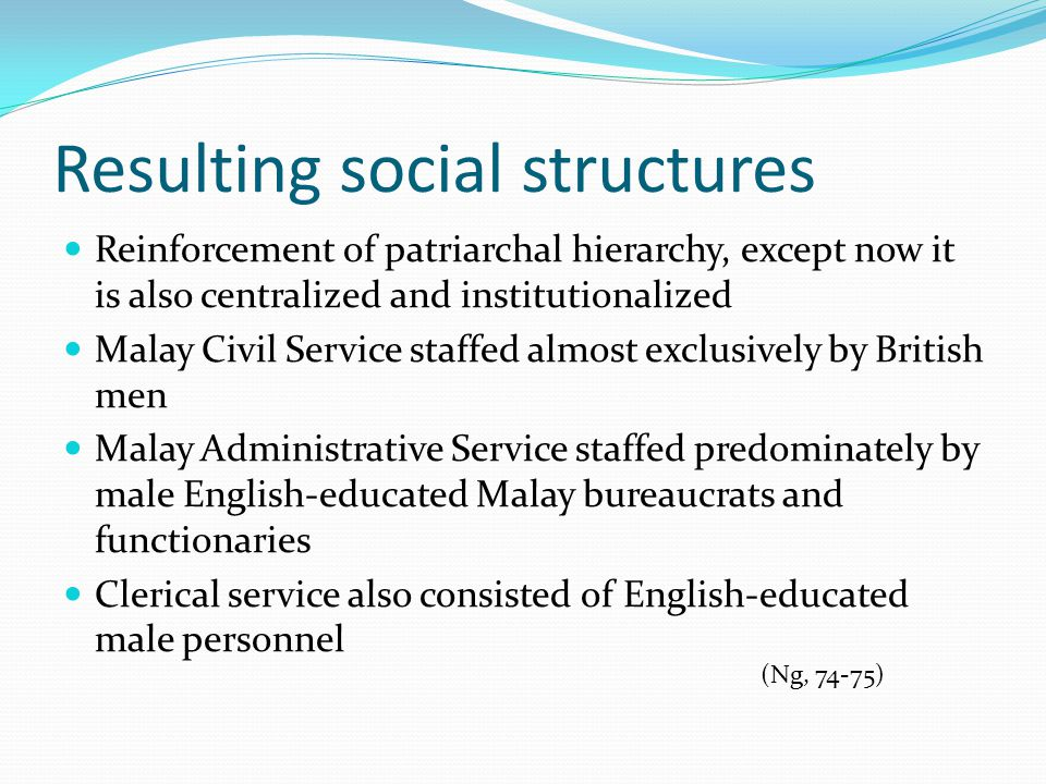 Resulting social structures Reinforcement of patriarchal hierarchy, except now it is also centralized and institutionalized Malay Civil Service staffed almost exclusively by British men Malay Administrative Service staffed predominately by male English-educated Malay bureaucrats and functionaries Clerical service also consisted of English-educated male personnel (Ng, 74-75)