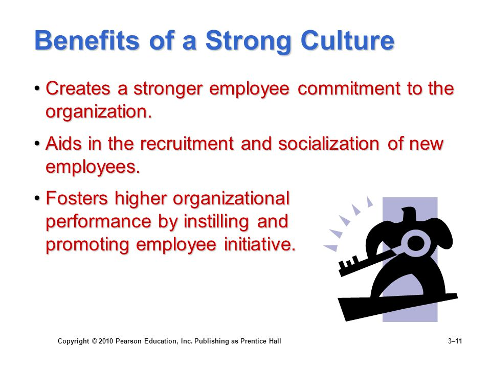 Copyright © 2010 Pearson Education, Inc. Publishing as Prentice Hall 3–11 Benefits of a Strong Culture Creates a stronger employee commitment to the o