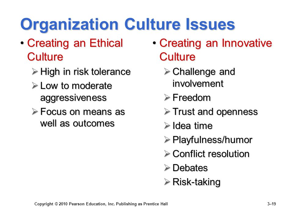 Copyright © 2010 Pearson Education, Inc. Publishing as Prentice Hall 3–19 Organization Culture Issues Creating an Ethical CultureCreating an Ethical C