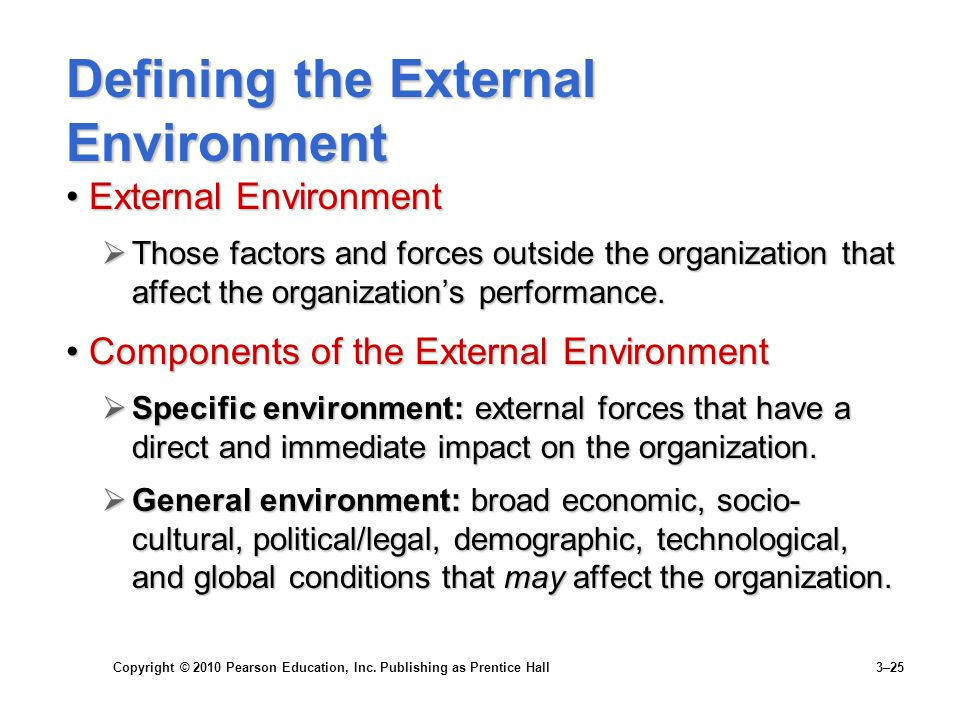 Copyright © 2010 Pearson Education, Inc. Publishing as Prentice Hall 3–25 Defining the External Environment External EnvironmentExternal Environment 