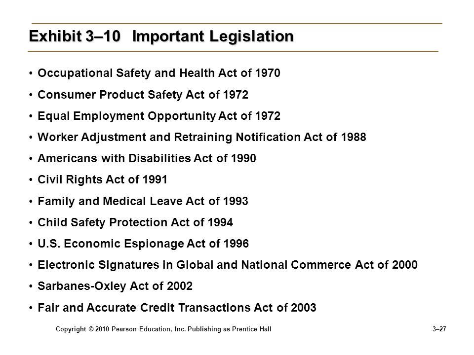 Copyright © 2010 Pearson Education, Inc. Publishing as Prentice Hall 3–27 Exhibit 3–10 Important Legislation Occupational Safety and Health Act of 197