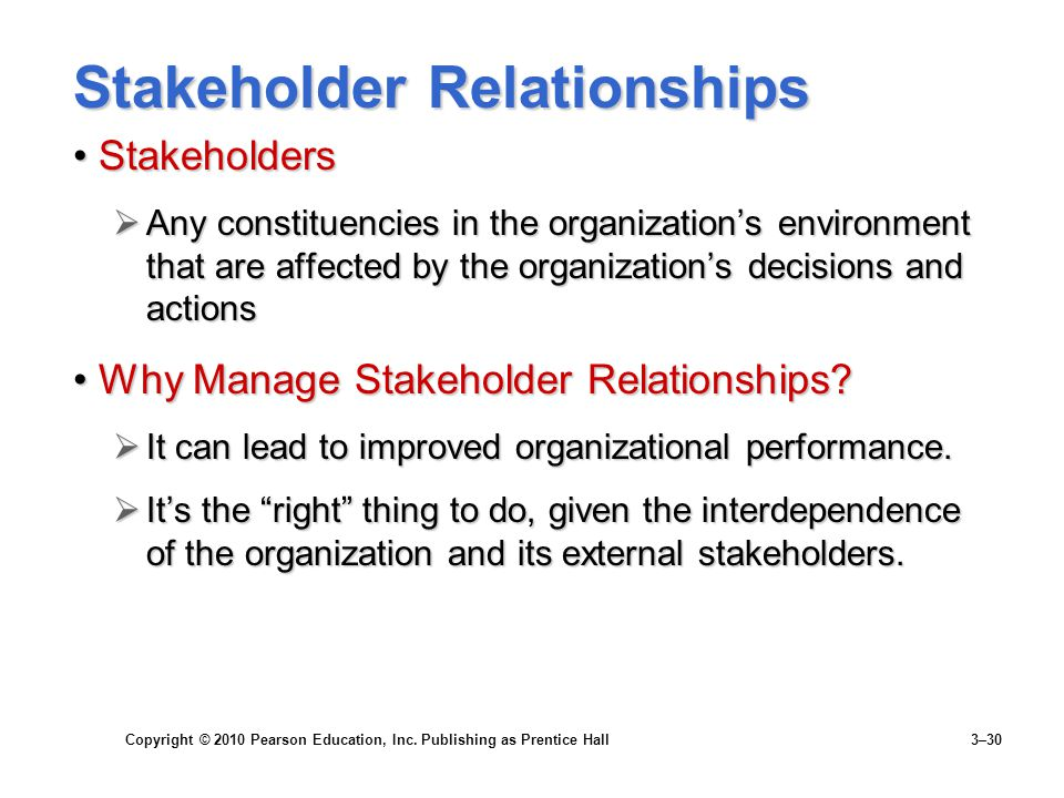 Copyright © 2010 Pearson Education, Inc. Publishing as Prentice Hall 3–30 Stakeholder Relationships StakeholdersStakeholders  Any constituencies in t