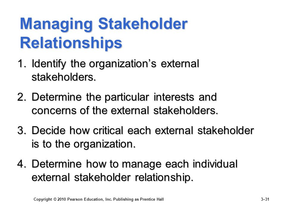 Copyright © 2010 Pearson Education, Inc. Publishing as Prentice Hall 3–31 Managing Stakeholder Relationships 1.Identify the organization's external st