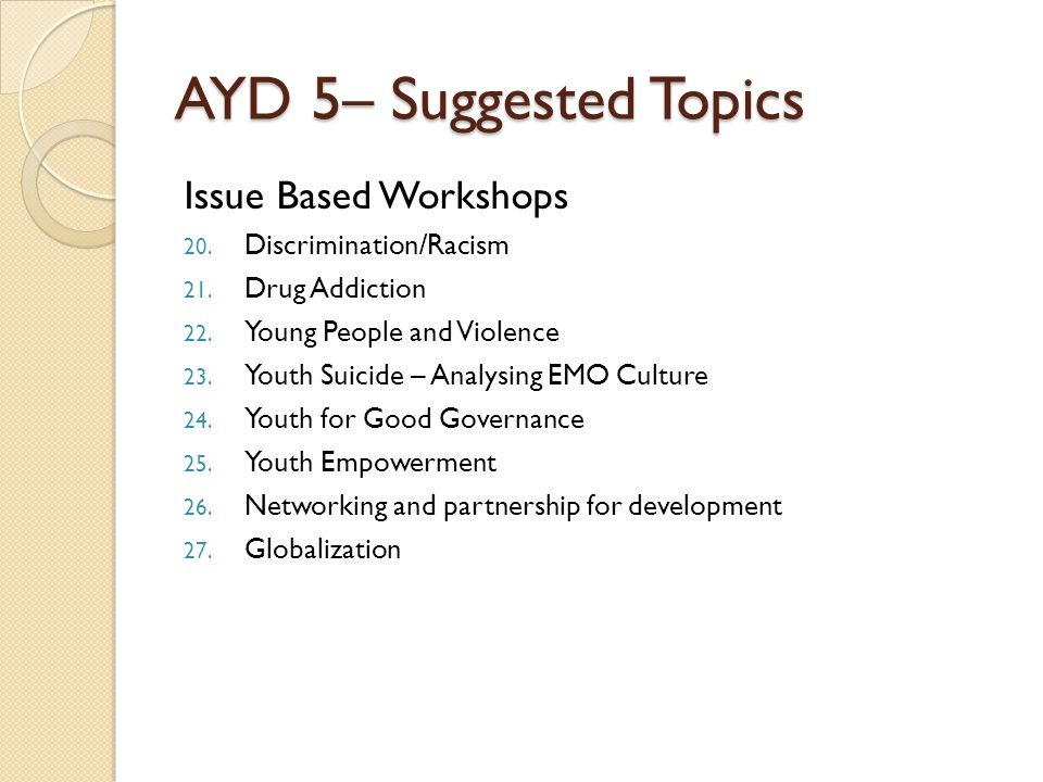 AYD 5– Suggested Topics Issue Based Workshops 20. Discrimination/Racism 21. Drug Addiction 22. Young People and Violence 23. Youth Suicide – Analysing