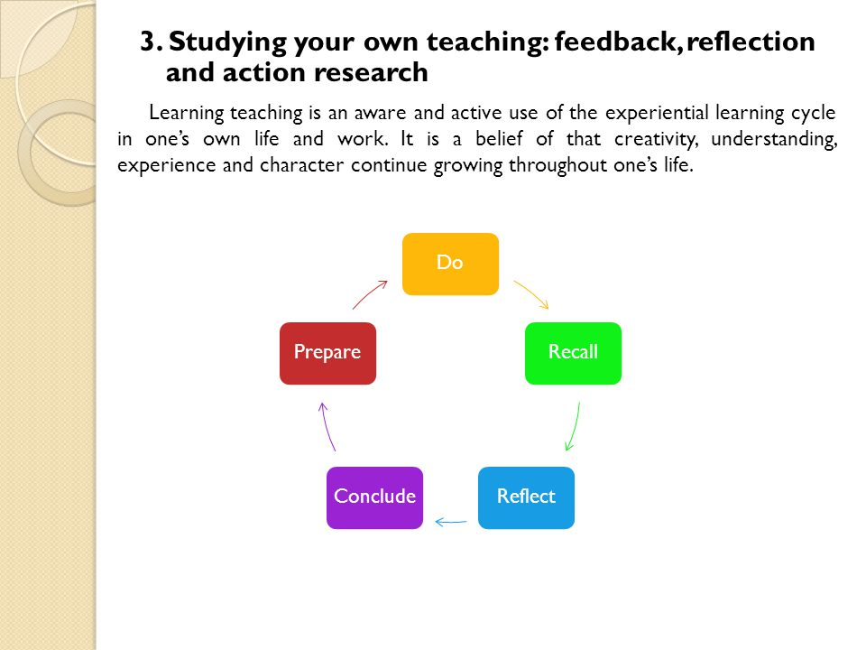 3. Studying your own teaching: feedback, reflection and action research Learning teaching is an aware and active use of the experiential learning cycl