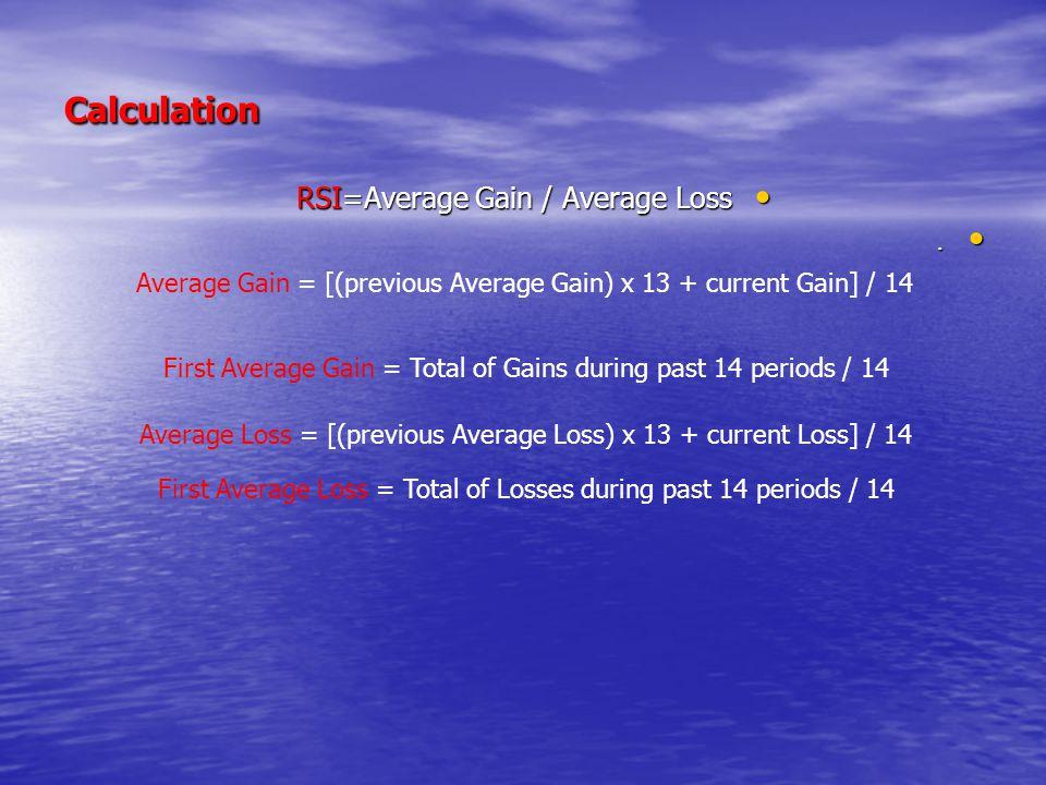 Calculation RSI=Average Gain / Average Loss RSI=Average Gain / Average Loss.