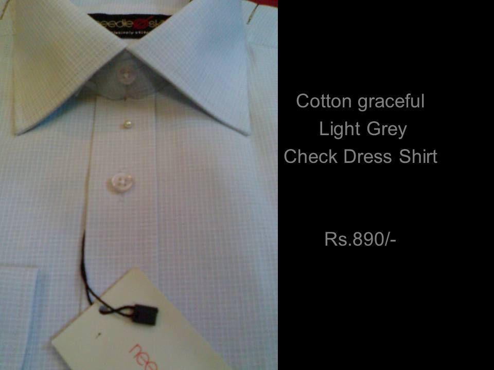 Cotton graceful Light Grey Check Dress Shirt Rs.890/-