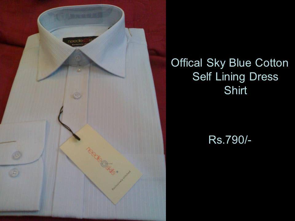 Offical Sky Blue Cotton Self Lining Dress Shirt Rs.790/-