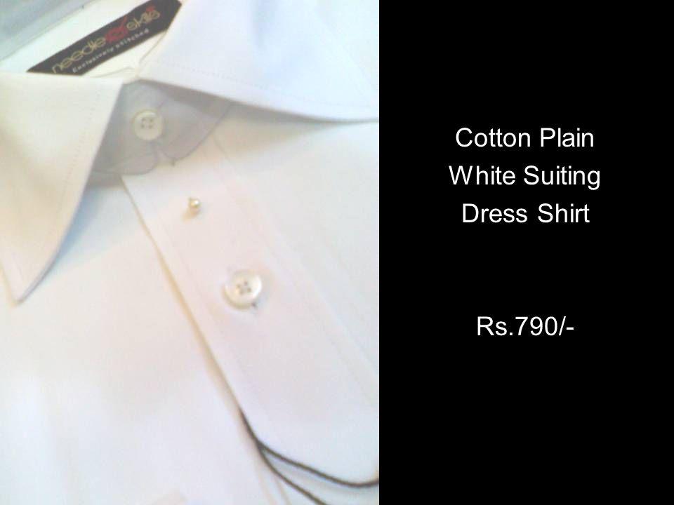 Cotton Plain White Suiting Dress Shirt Rs.790/-