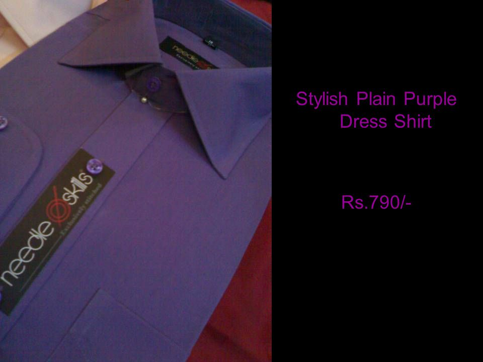 Stylish Plain Purple Dress Shirt Rs.790/-