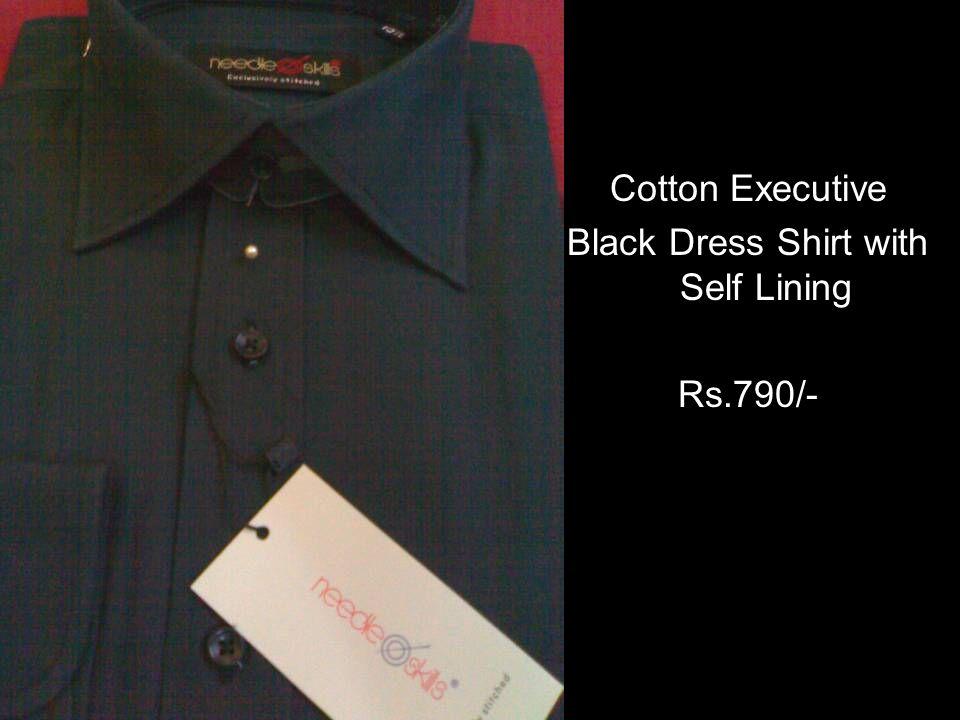 Cotton Executive Black Dress Shirt with Self Lining Rs.790/-