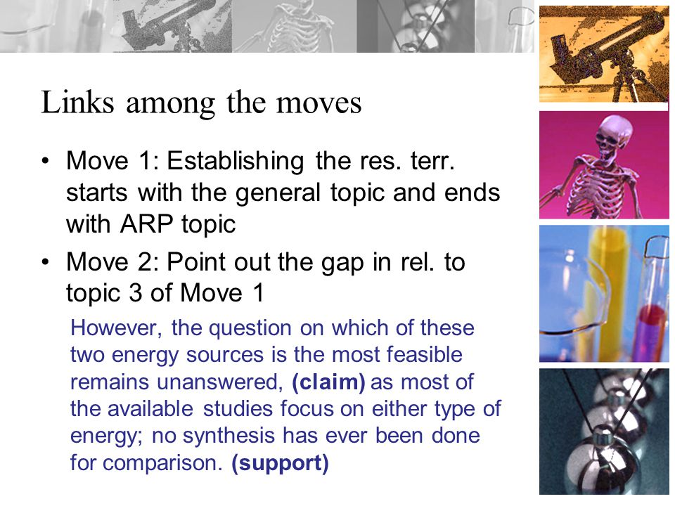 Links among the moves Move 1: Establishing the res.