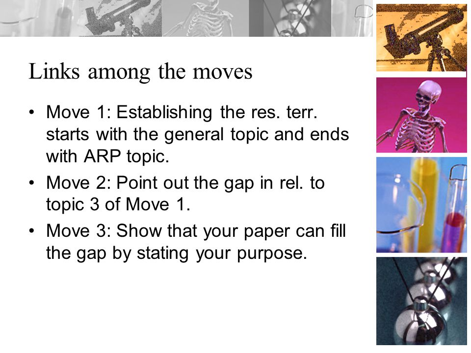 Links among the moves Move 1: Establishing the res. terr. starts with the general topic and ends with ARP topic. Move 2: Point out the gap in rel. to
