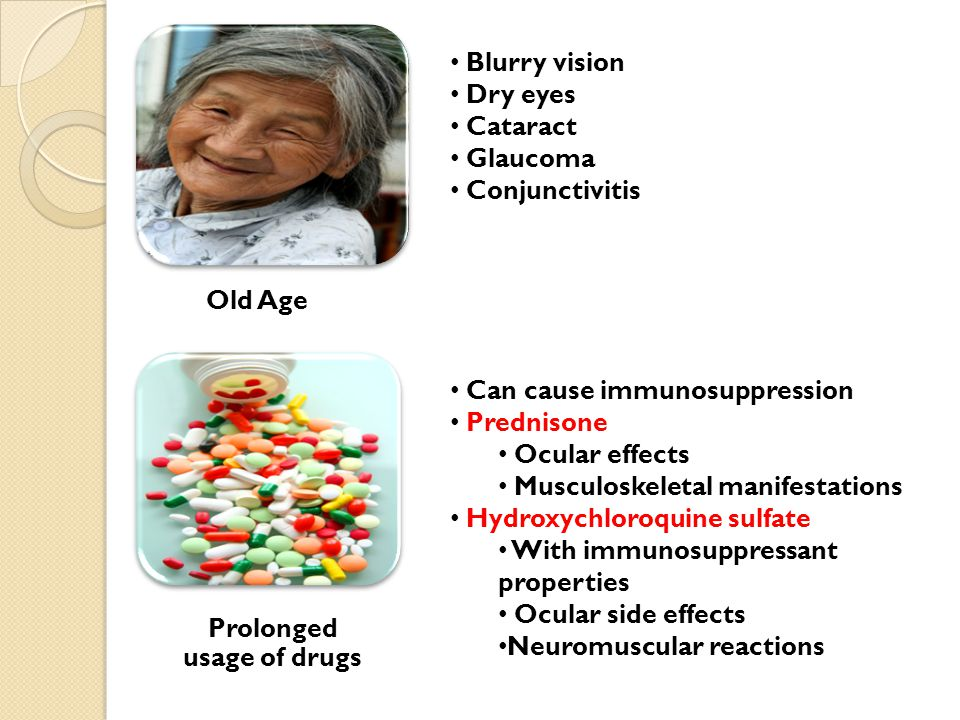 Old Age Blurry vision Dry eyes Cataract Glaucoma Conjunctivitis Prolonged usage of drugs Can cause immunosuppression Prednisone Ocular effects Musculoskeletal manifestations Hydroxychloroquine sulfate With immunosuppressant properties Ocular side effects Neuromuscular reactions
