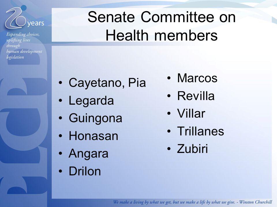 Senate Committee on Health members Cayetano, Pia Legarda Guingona Honasan Angara Drilon Marcos Revilla Villar Trillanes Zubiri