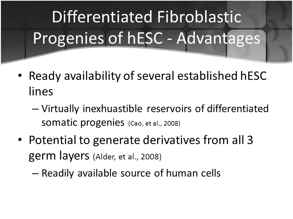 Differentiated Fibroblastic Progenies of hESC - Advantages Ready availability of several established hESC lines – Virtually inexhuastible reservoirs of differentiated somatic progenies (Cao, et al., 2008) Potential to generate derivatives from all 3 germ layers (Alder, et al., 2008) – Readily available source of human cells