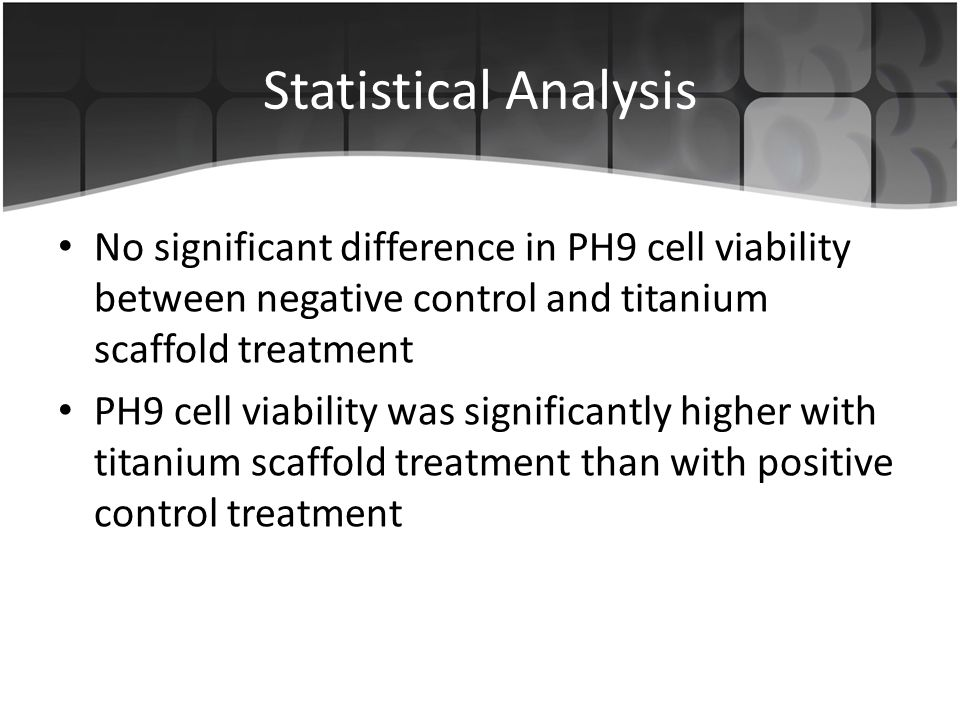 Statistical Analysis No significant difference in PH9 cell viability between negative control and titanium scaffold treatment PH9 cell viability was significantly higher with titanium scaffold treatment than with positive control treatment