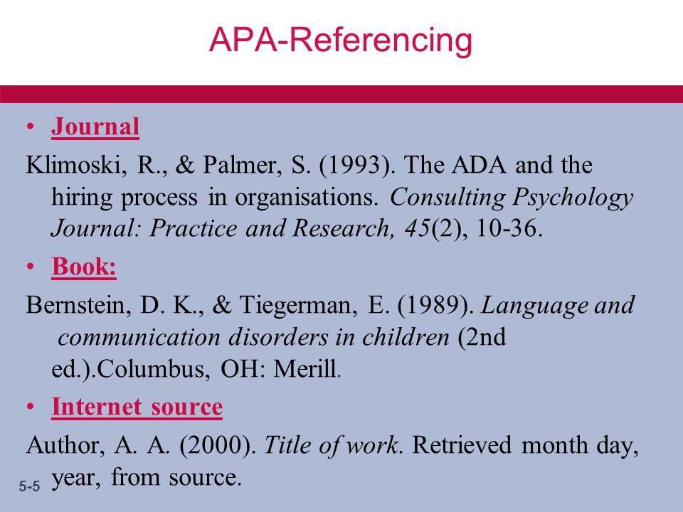 5-5 APA-Referencing Journal Klimoski, R., & Palmer, S.