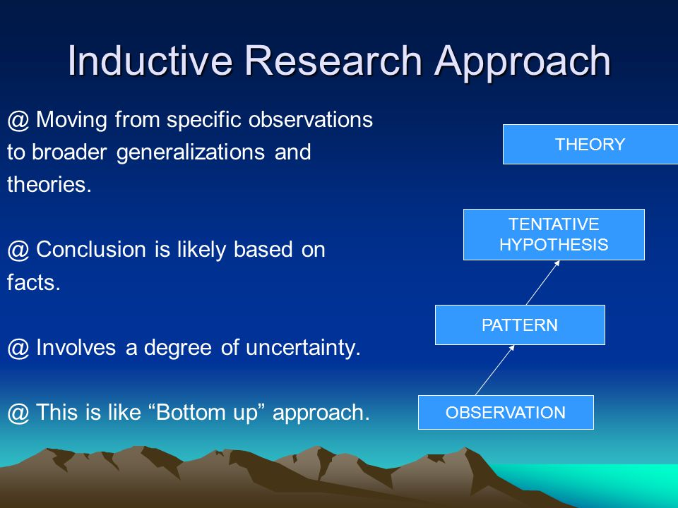 Inductive Research Approach @ Moving from specific observations to broader generalizations and theories.
