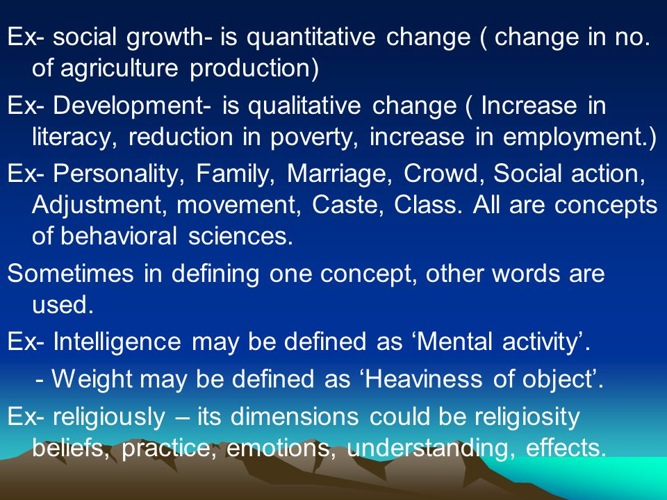 Ex- social growth- is quantitative change ( change in no.