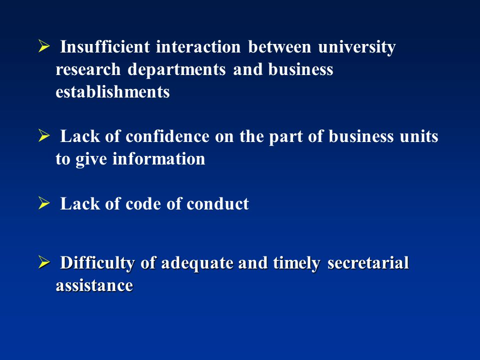  Insufficient interaction between university research departments and business establishments  Lack of confidence on the part of business units to give information  Lack of code of conduct  Difficulty of adequate and timely secretarial assistance