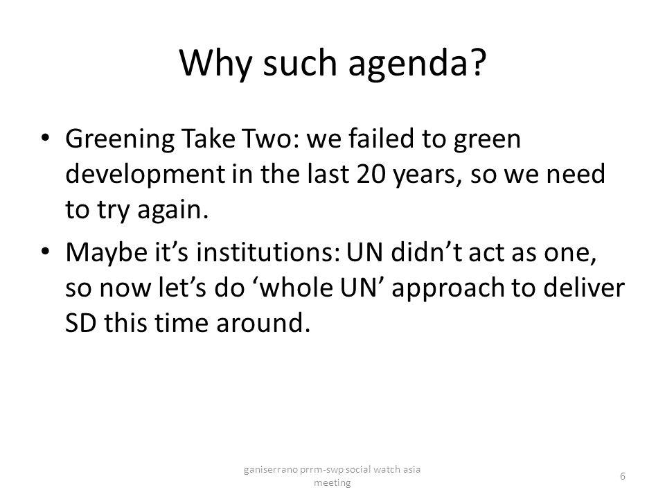 Why such agenda.