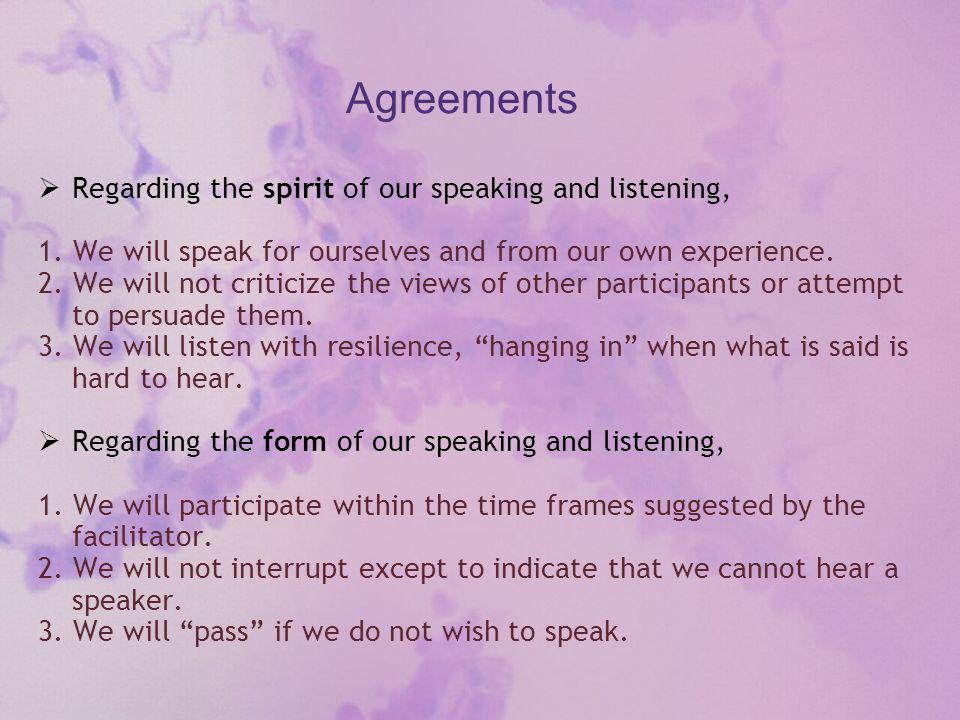 Agreements  Regarding the spirit of our speaking and listening, 1.
