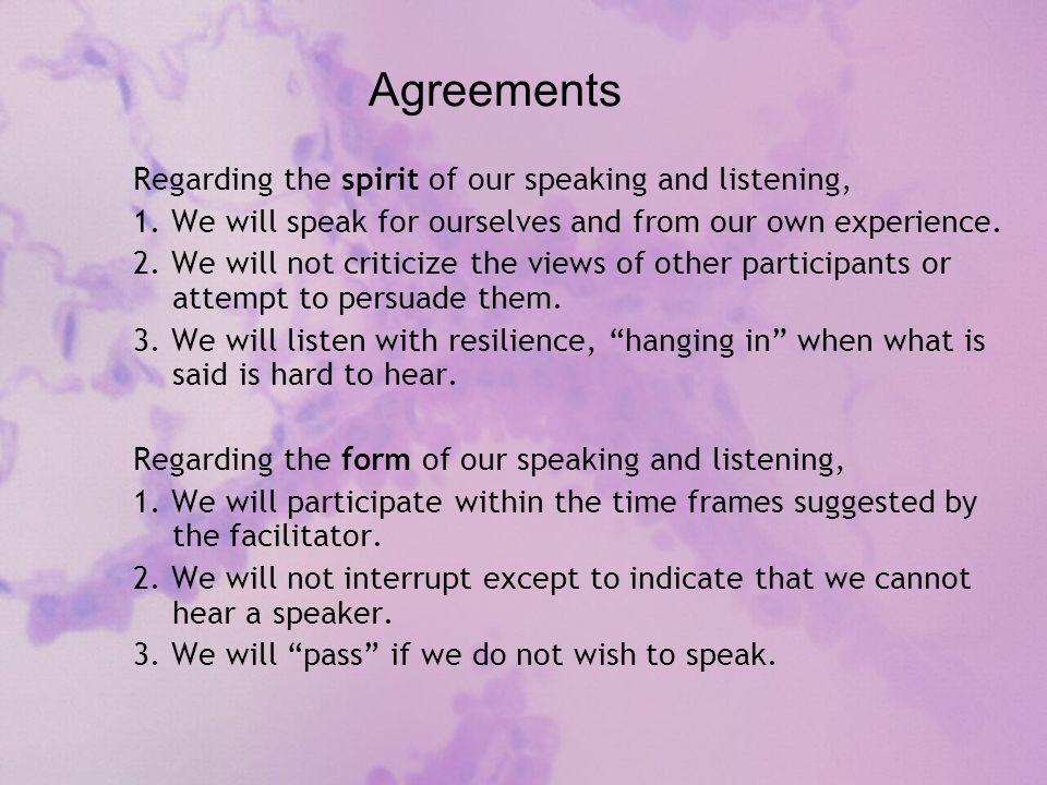 Agreements Regarding the spirit of our speaking and listening, 1.
