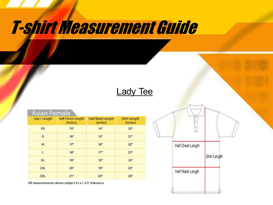 T-shirt Measurement Guide Lady Tee