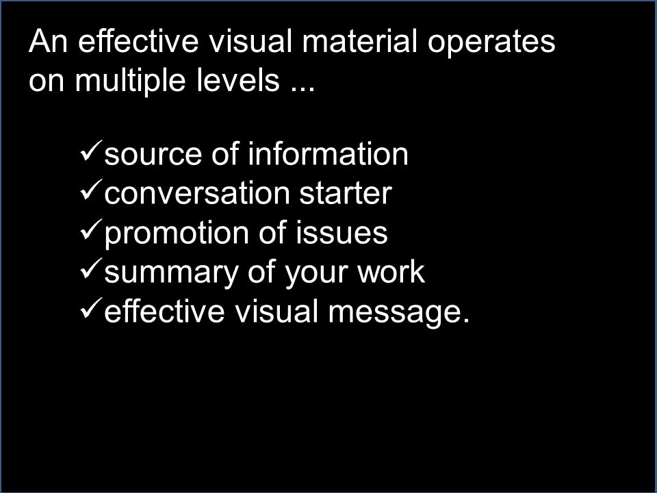 source of information conversation starter promotion of issues summary of your work effective visual message.