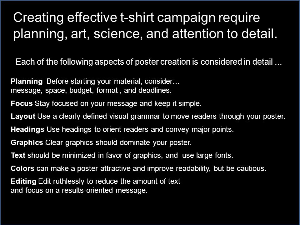 Each of the following aspects of poster creation is considered in detail...