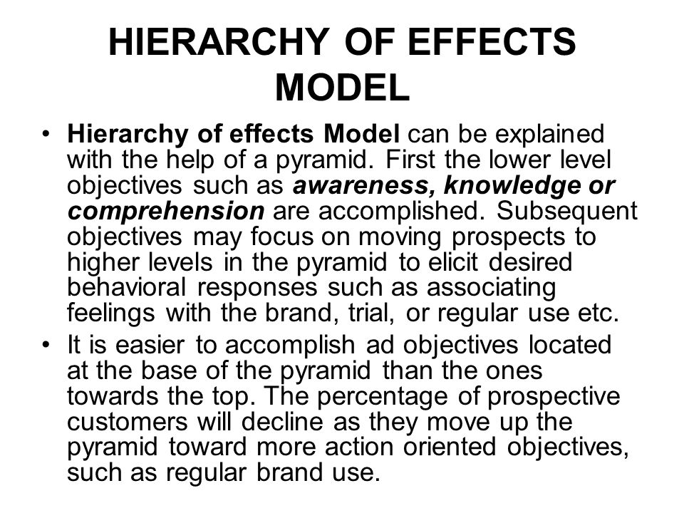 HIERARCHY OF EFFECTS MODEL Hierarchy of effects Model can be explained with the help of a pyramid. First the lower level objectives such as awareness,