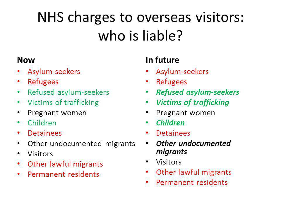 NHS charges to overseas visitors: who is liable.