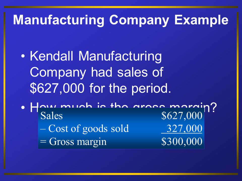 Manufacturing Company Example Beg.