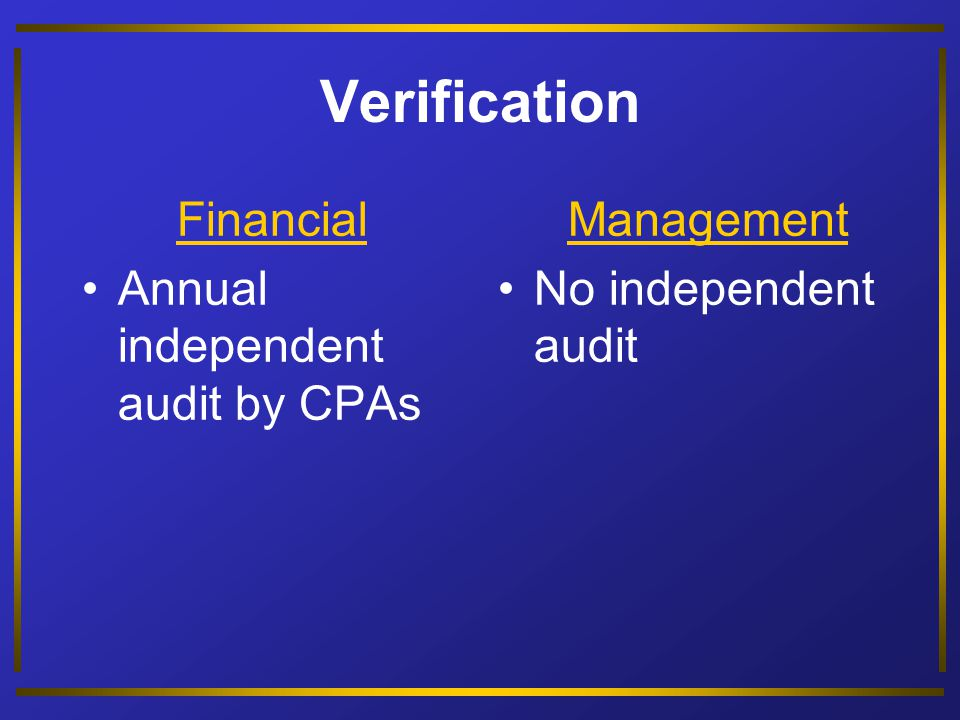 Type of Report Financial Financial statements restricted by GAAP Management Internal reports not restricted by GAAP; determined by cost-benefit analysis