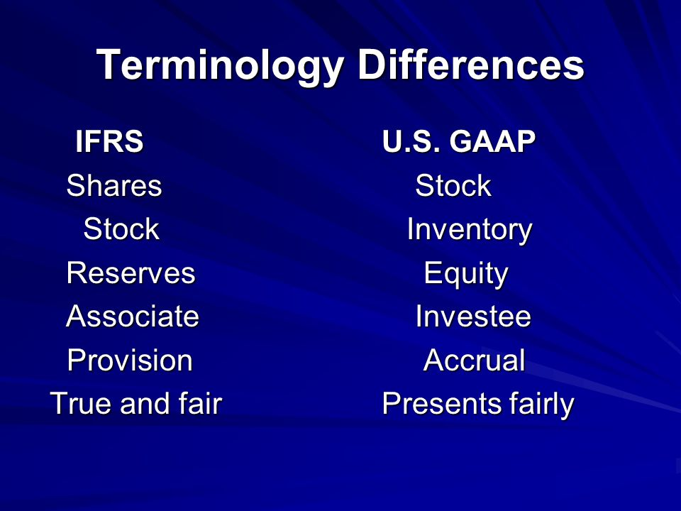 Terminology Differences IFRSU.S.GAAP IFRSU.S.