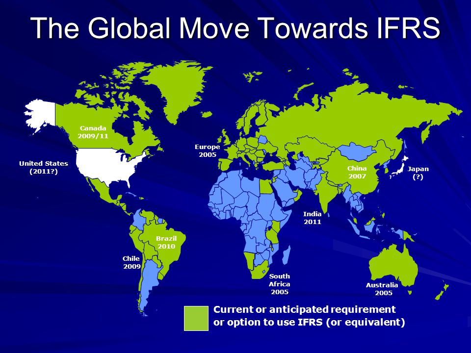 The Global Move Towards IFRS Europe 2005 Australia 2005 Canada 2009/11 South Africa 2005 United States (2011?) Current or anticipated requirement or option to use IFRS (or equivalent) Brazil 2010 China 2007 India 2011 Chile 2009 Japan (?)