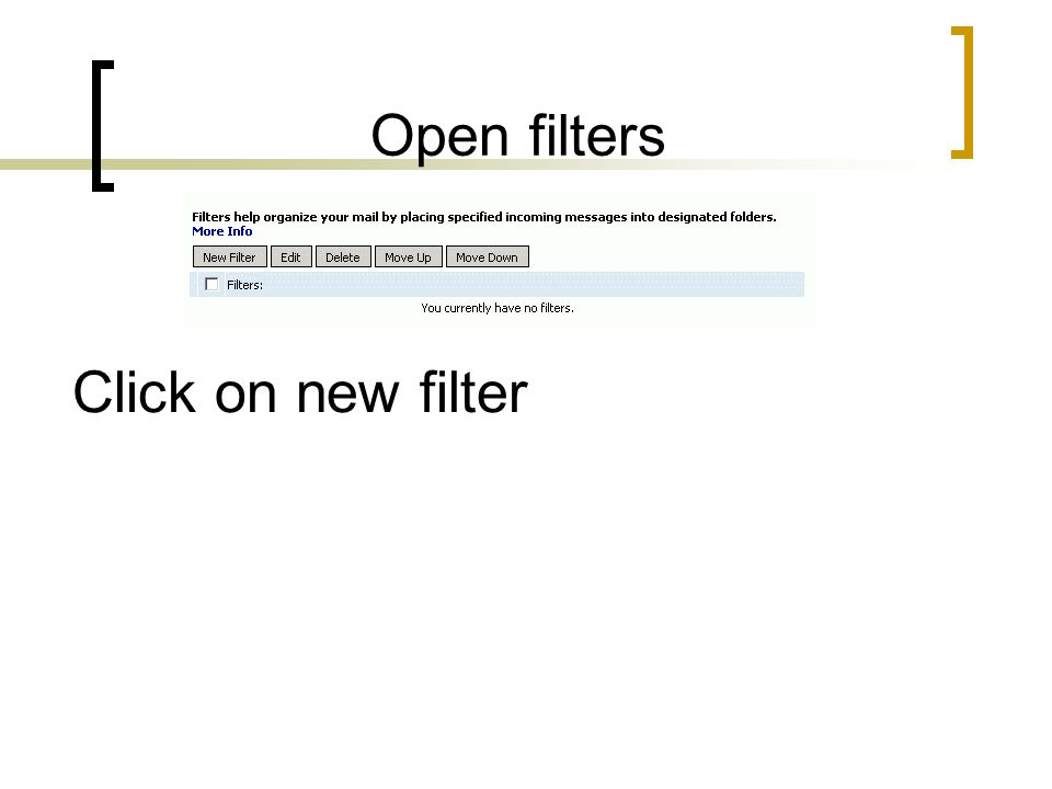 Open filters Click on new filter