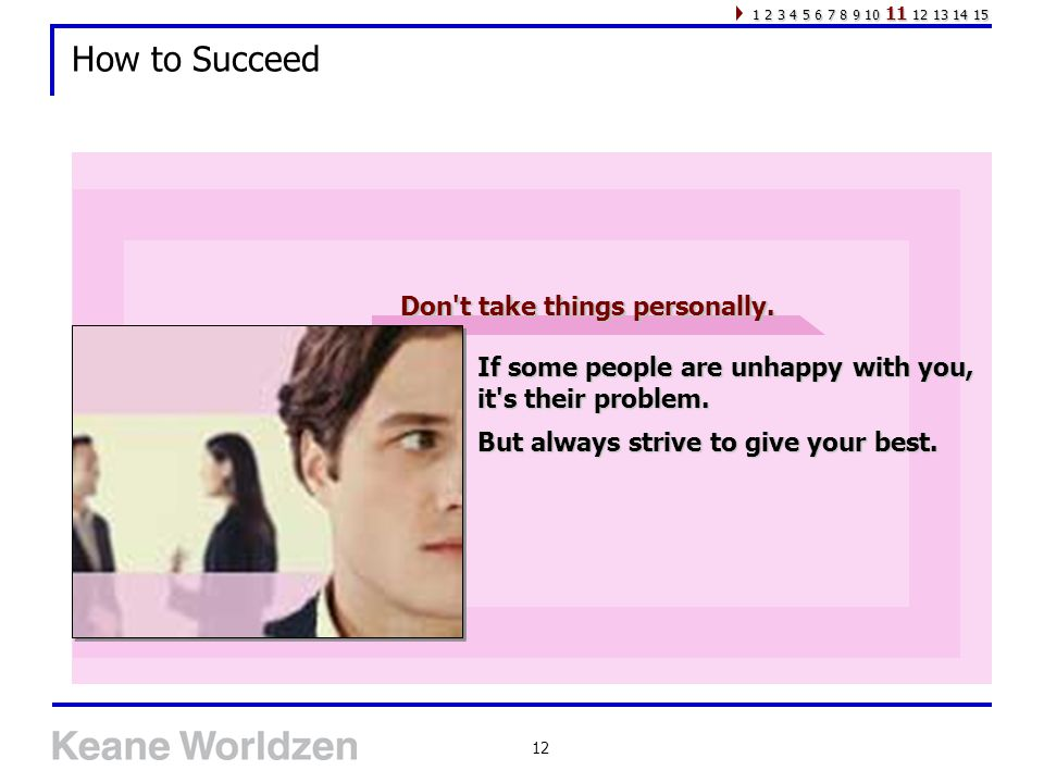 12 How to Succeed If some people are unhappy with you, it s their problem.