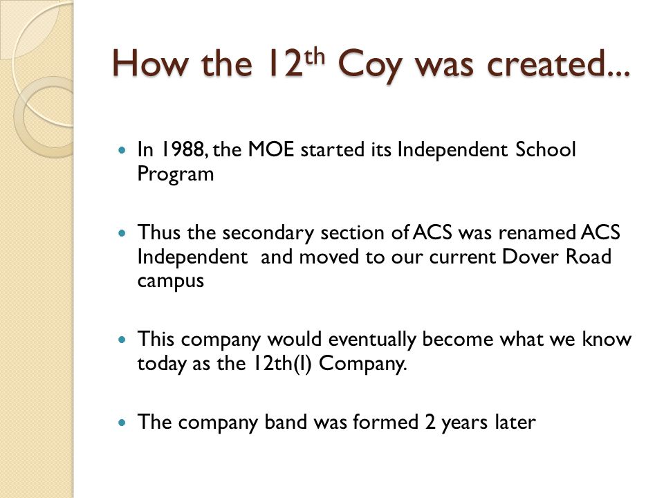 How the 12 th Coy was created...