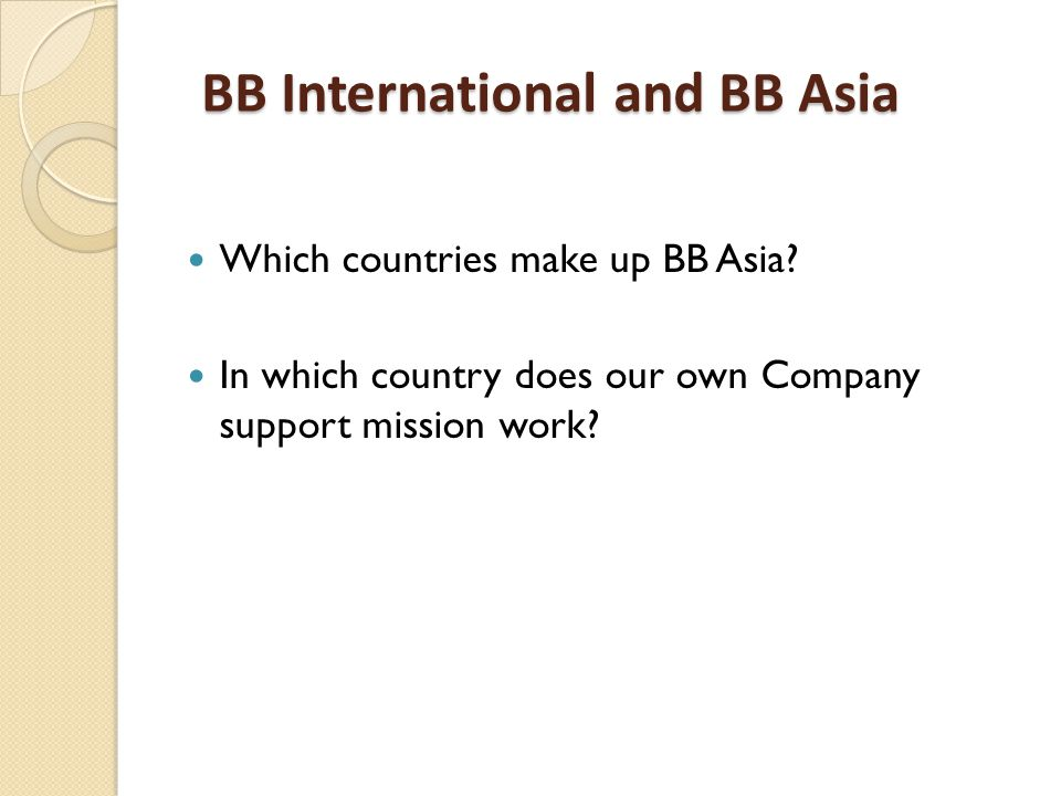 Which countries make up BB Asia.