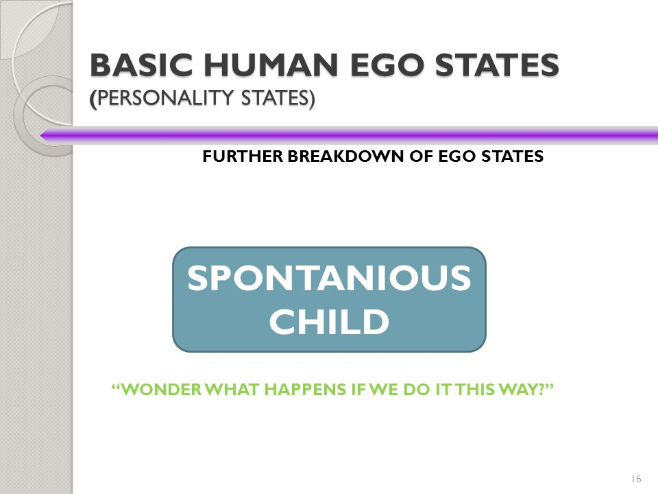 "16 BASIC HUMAN EGO STATES (PERSONALITY STATES) FURTHER BREAKDOWN OF EGO STATES SPONTANIOUS CHILD ""WONDER WHAT HAPPENS IF WE DO IT THIS WAY?"""