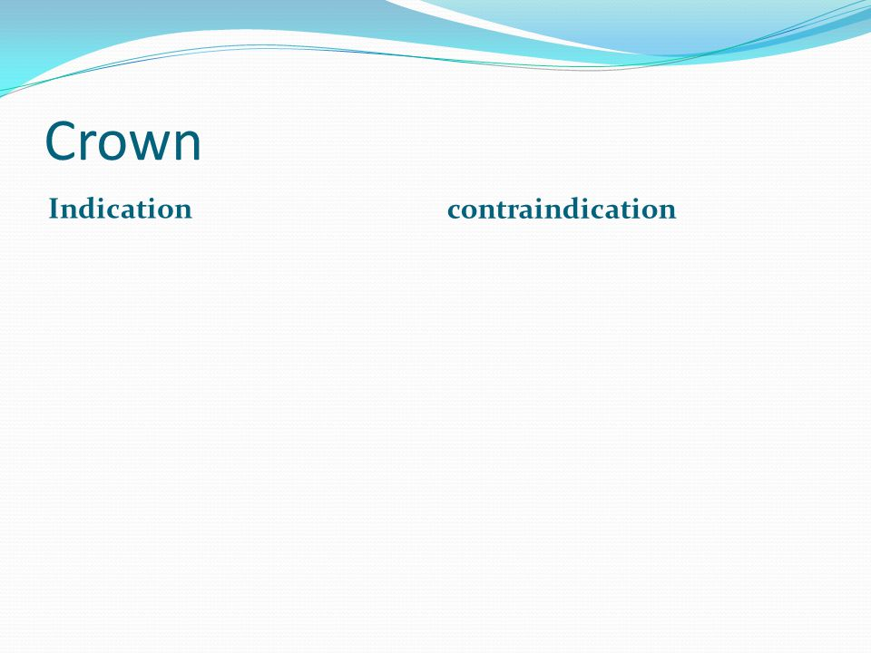 Crown Indication contraindication