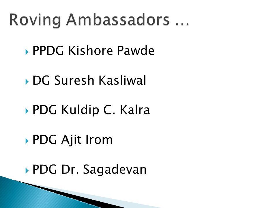  PPDG Kishore Pawde  DG Suresh Kasliwal  PDG Kuldip C. Kalra  PDG Ajit Irom  PDG Dr. Sagadevan