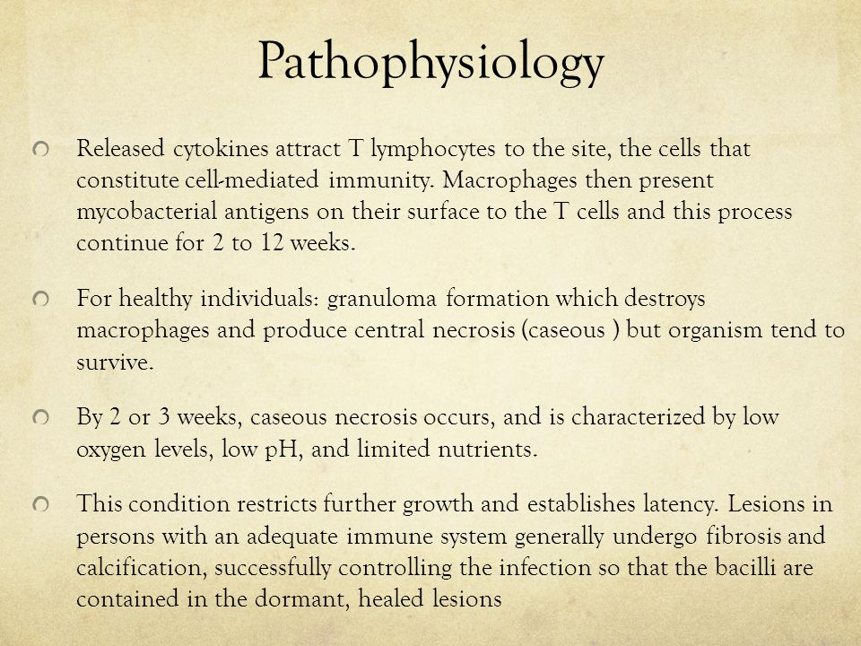 Pathophysiology Released cytokines attract T lymphocytes to the site, the cells that constitute cell-mediated immunity.