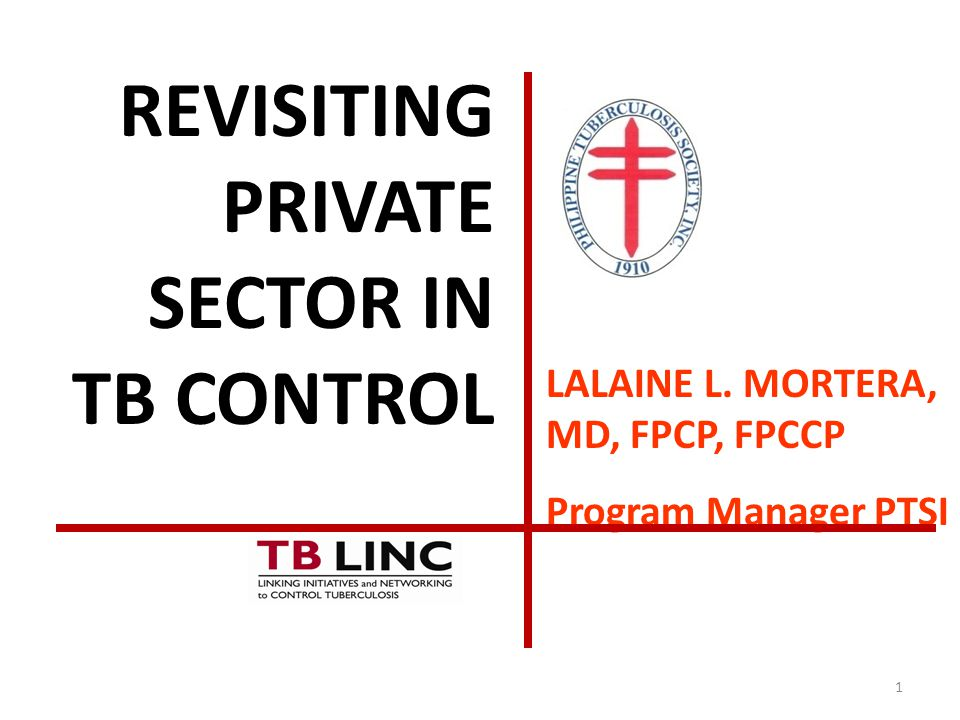 1 LALAINE L. MORTERA, MD, FPCP, FPCCP Program Manager PTSI REVISITING PRIVATE SECTOR IN TB CONTROL