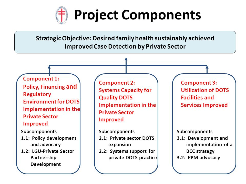 21 Project Components Subcomponents 1.1: Policy development and advocacy 1.2: LGU-Private Sector Partnership Development Component 1: Policy, Financin