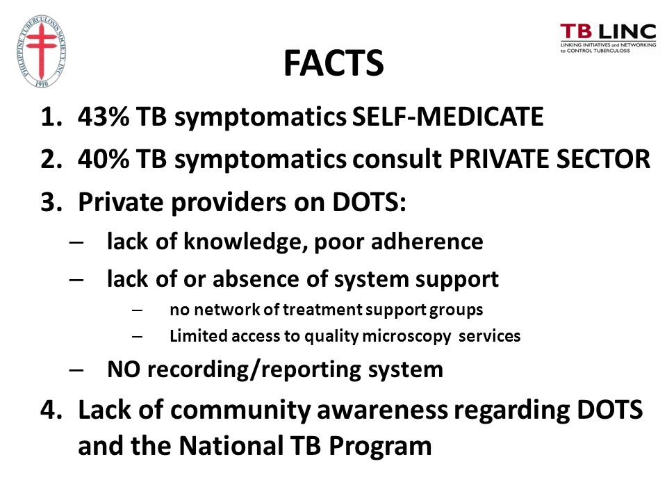 FACTS 1.43% TB symptomatics SELF-MEDICATE 2.40% TB symptomatics consult PRIVATE SECTOR 3.Private providers on DOTS: – lack of knowledge, poor adherenc