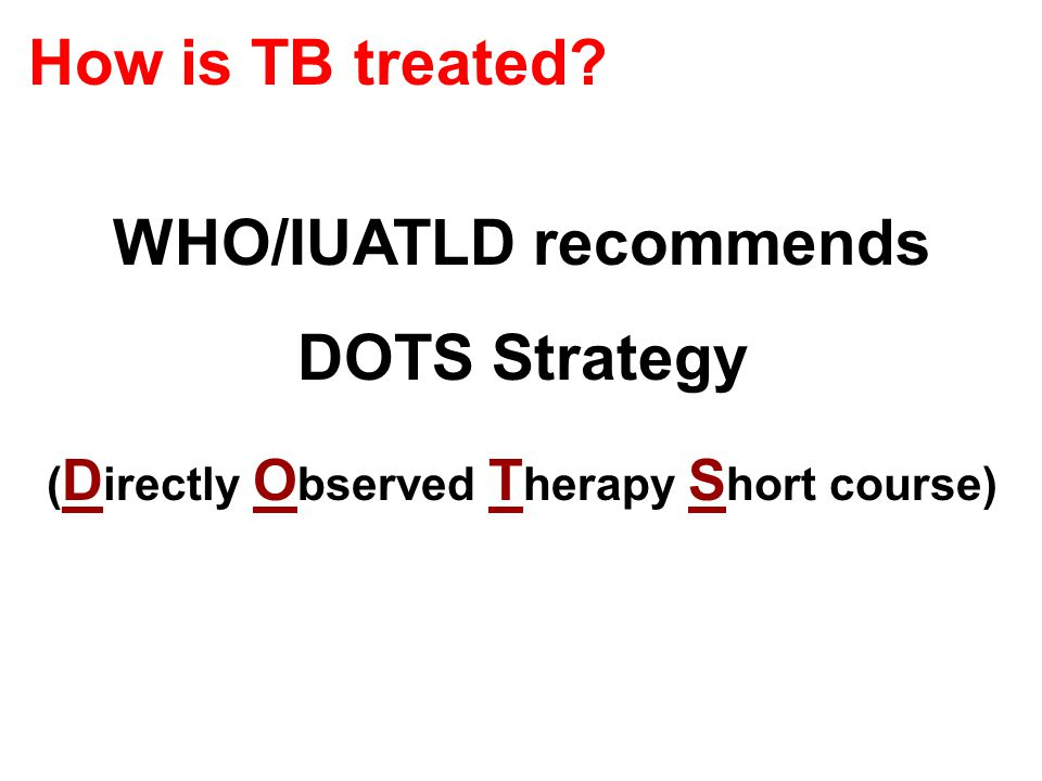 WHO/IUATLD recommends DOTS Strategy ( D irectly O bserved T herapy S hort course) How is TB treated?